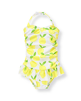 White/Citron Lemon Lemon Swimsuit at JanieandJack