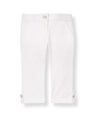 Pure White Button Cuff Capri Pant at JanieandJack