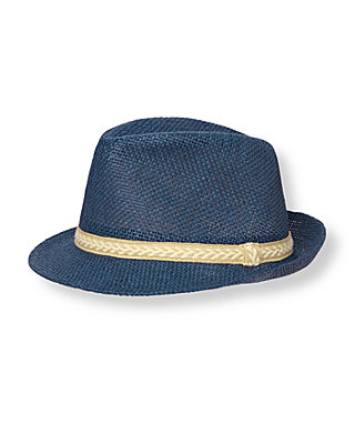 Boys Sunwashed Indigo Straw Fedora at JanieandJack