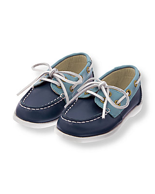Sunwashed Indigo Leather Boat Shoe at JanieandJack