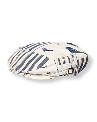 White/Nautical Navy Patchwork Embroidered Whale Patchwork Cap at JanieandJack