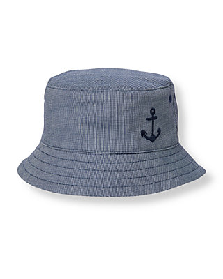 Boys Marine Navy Dot Anchor Canvas Bucket Hat at JanieandJack