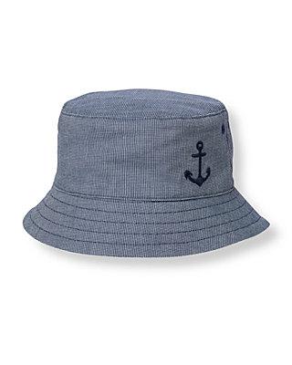 Boys Marine Navy Dot Anchor Canvas Bucket Hat at JanieandJack