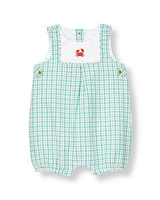 Baby Boy Turquoise Plaid Crab Plaid Seersucker One-Piece at JanieandJack