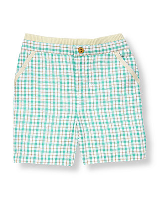 Turquoise Plaid Plaid Seersucker Short at JanieandJack