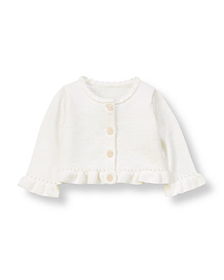Pure White Ruffle Cardigan at JanieandJack