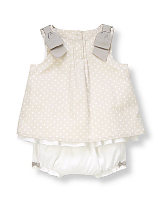 Baby Girl Misty Grey Dot Dotted Corduroy Two-Piece Set at JanieandJack
