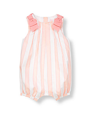 Baby Girl Pure White Stripe Bow Striped One-Piece at JanieandJack