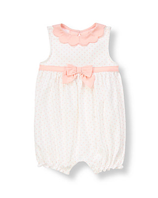 Baby Girl Pure White Dot Bow Dotted One-Piece at JanieandJack