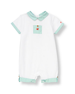 Baby Boy Pure White Crab Pique One-Piece at JanieandJack