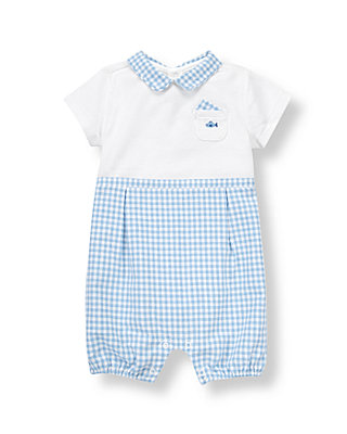 Baby Boy Sea Blue Stripe Gingham One-Piece at JanieandJack