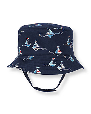 Baby Boy Nautical Navy Sailboat Reversible Hat at JanieandJack