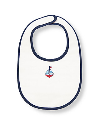 Pure White Sailboat Bib at JanieandJack