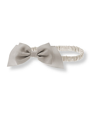Misty Grey Dot Bow Dotted Headband at JanieandJack