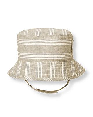Baby Boy Pebble Brown Stripe Striped Linen Blend Bucket Hat at JanieandJack