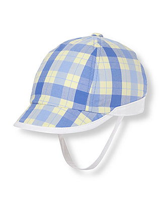 Baby Boy Sea Blue Plaid Plaid Cap at JanieandJack