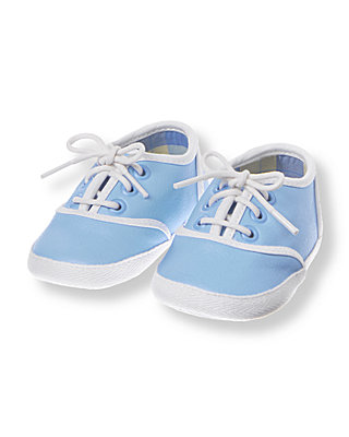 Baby Boy Sea Blue Tipped Crib Shoe at JanieandJack