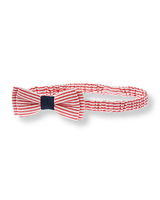 American Red Stripe Striped Seersucker Headband at JanieandJack