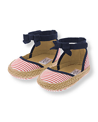 American Red Stripe Striped Seersucker Espadrille Crib Shoe at JanieandJack