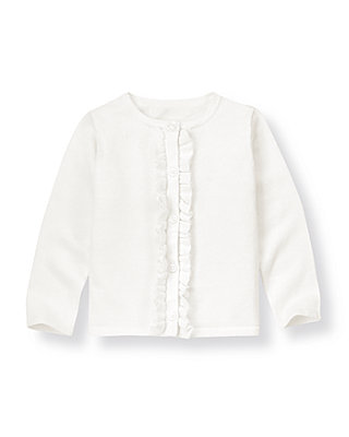 Pure White Ruffle Sweater Cardigan at JanieandJack