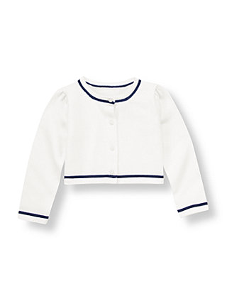 Pure White Tipped Cardigan at JanieandJack