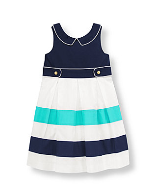 Marine Navy Pleated Colorblock Dress at JanieandJack