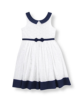 Pure White Ribbon Sash Eyelet Dress at JanieandJack
