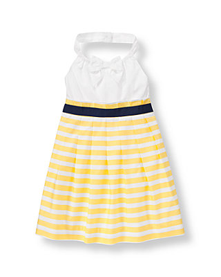 Sunshine Yellow Stripe Striped Halter Dress at JanieandJack