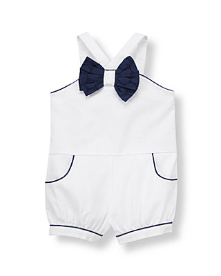 Pure White Bow Corduroy Romper at JanieandJack
