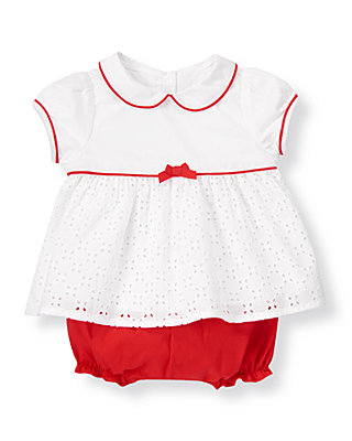 Baby Girl Pure White/Melon Red Eyelet Two-Piece Set at JanieandJack