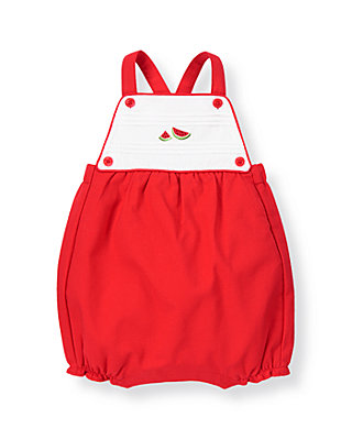 Baby Girl Melon Red Watermelon Pique Shortall at JanieandJack