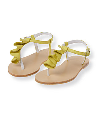 Citron Leather Ruffle Sandal at JanieandJack