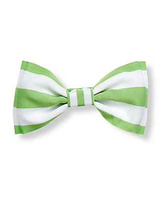 Leaf Green Stripe Stripe Ribbon Bow Barrette at JanieandJack