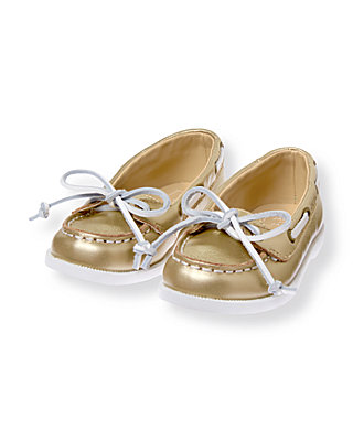 Metallic Gold Gold Boat Shoe at JanieandJack