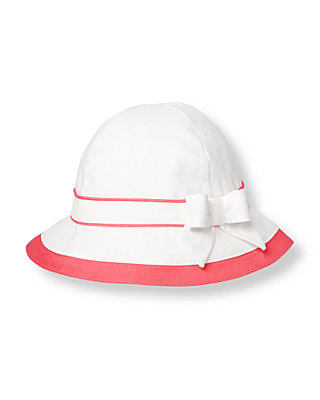 Pure White Bow Colorblock Sunhat at JanieandJack