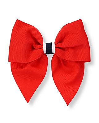 American Red Ribbon Bow Barrette at JanieandJack