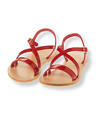 American Red Strappy Patent Leather Sandals at JanieandJack