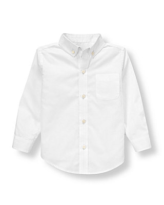 Pure White Woven Dress Shirt at JanieandJack