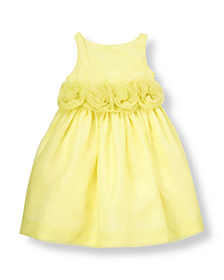 Citron Yellow Rosette Silk Organza Dress at JanieandJack
