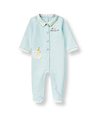Baby Boy Train Blue Train Footed One-Piece at JanieandJack
