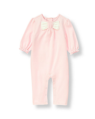 Baby Girl Soft Pink Dot Dotted Bow One-Piece at JanieandJack