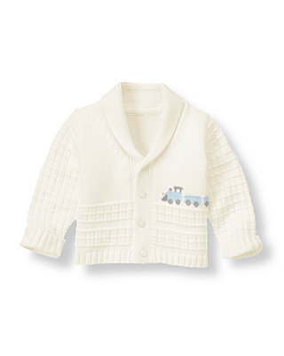 Baby Boy Ivory Train Cardigan at JanieandJack