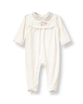 Baby Girl Ivory Songbird Velour One-Piece at JanieandJack