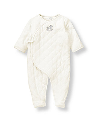 Ivory Rocking Horse Velour One-Piece at JanieandJack
