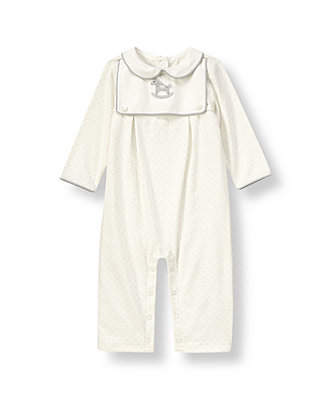 Ivory Dot Rocking Horse Dotted One-Piece at JanieandJack
