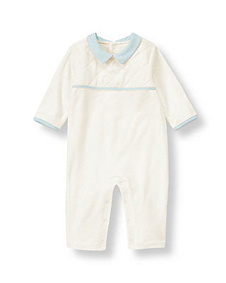 Baby Boy Ivory Quilted Velour One-Piece at JanieandJack
