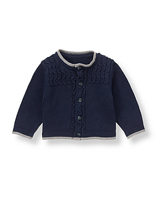 Baby Boy Classic Navy Tipped Cable Cardigan at JanieandJack