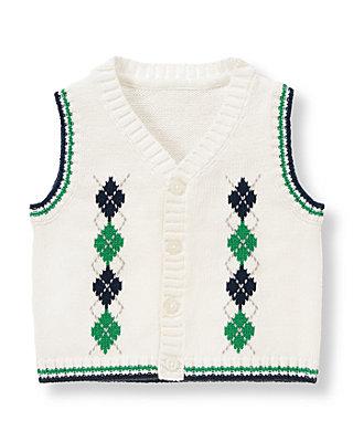 Baby Boy Ivory Argyle Sweater Vest at JanieandJack