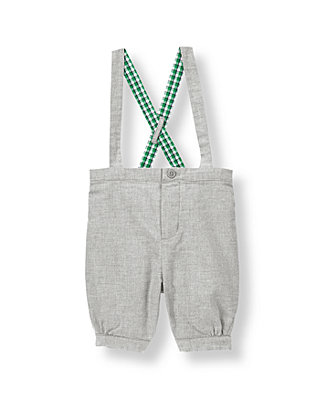Heather Grey Twill Suspender Pant at JanieandJack