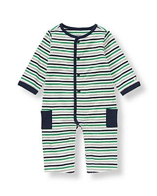 Baby Boy Classic Navy Stripe Striped One-Piece at JanieandJack